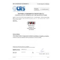 Certifikat za delovni čoln ROTO 450s